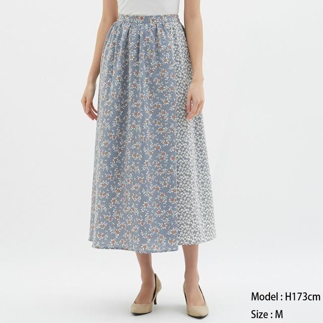 フラワープリントコンビネーションロングスカート