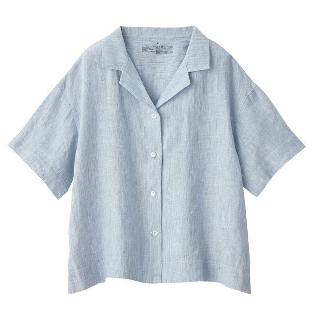 オーガニックリネン洗いざらしストライプ半袖開襟シャツ