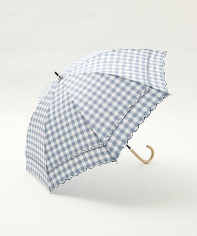 スカラップギンガムチェック晴雨兼用長傘 日傘