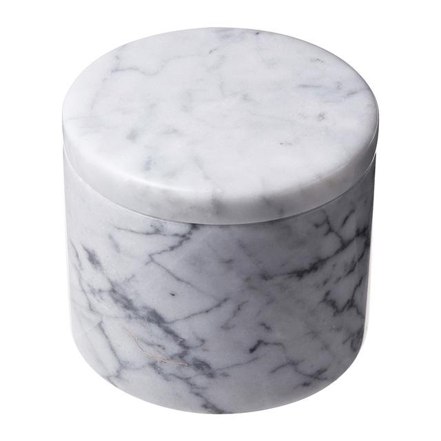 MARBLEマーブル フタ付き小物入れ ホワイトグレー