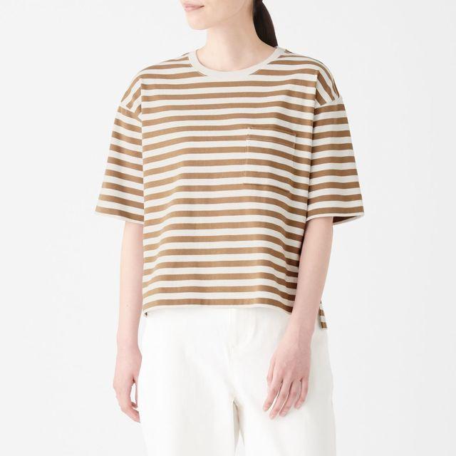 太番手天竺編みクルーネックワイドTシャツ