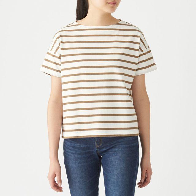 太番手天竺編みボートネックワイドTシャツ