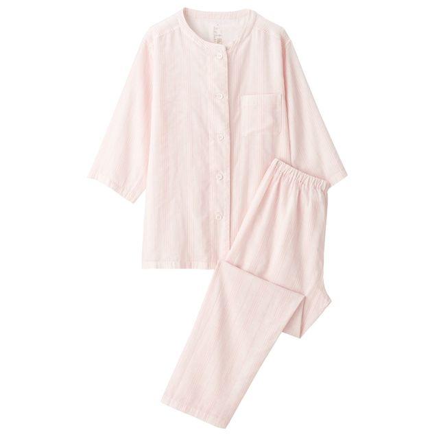 脇に縫い目のない 細番手二重ガーゼ七分袖パジャマ 婦人S・ピンク×ストライプ