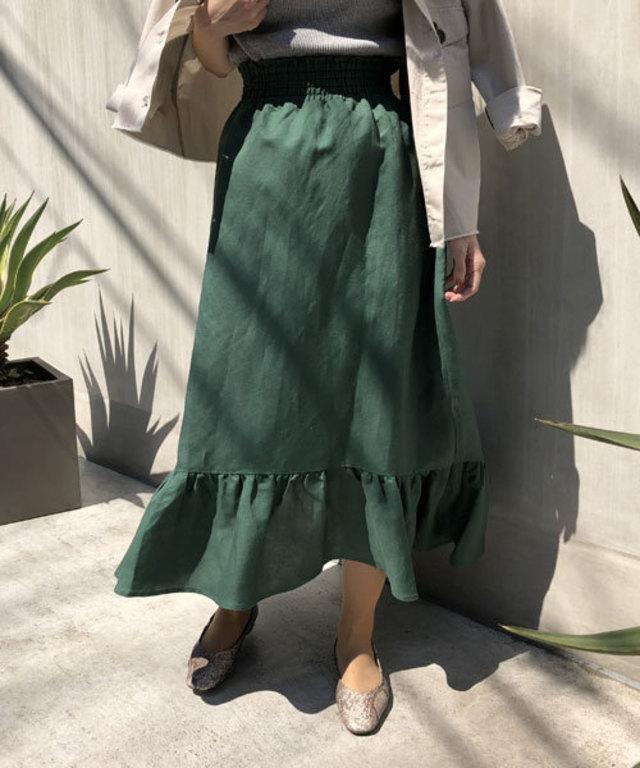 【WEB限定】リネン混ギャザーマキシスカート