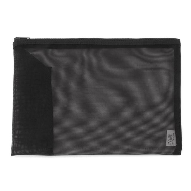 ナイロンメッシュケース・ペンポケット付き A5サイズ・黒