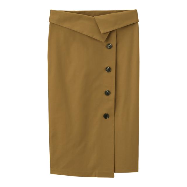 ハイウエストボタンナロースカート