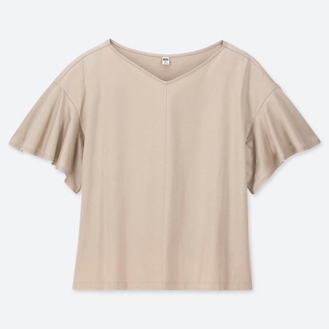 マーセライズコットンフレアスリーブT(5分袖)