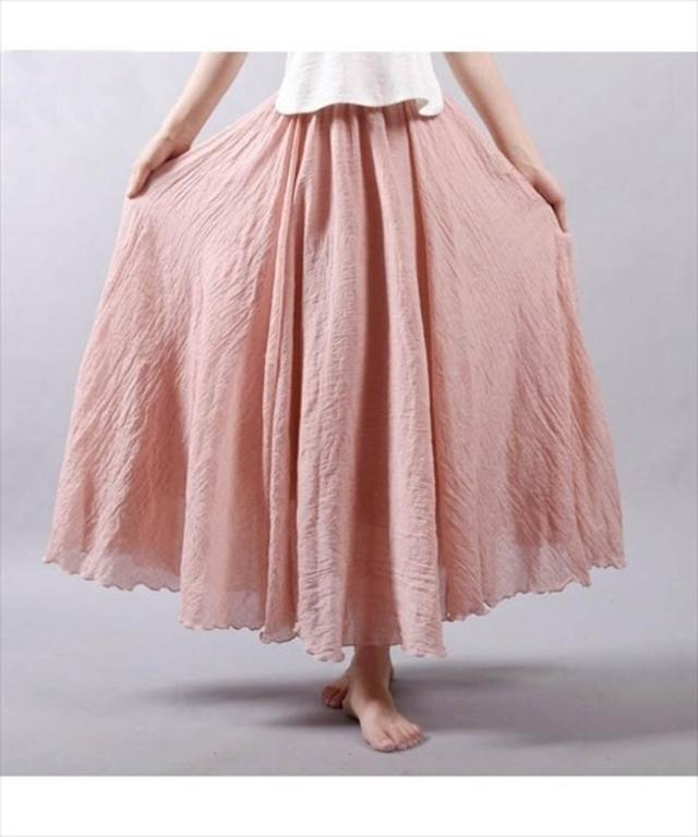 リネンマキシ丈スカート