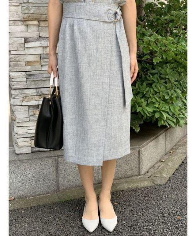 セットアップ着用可能 フェイクリネンアシメタイトスカート