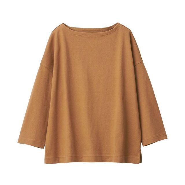 太番手天竺編みドロップショルダーTシャツ(七分袖)
