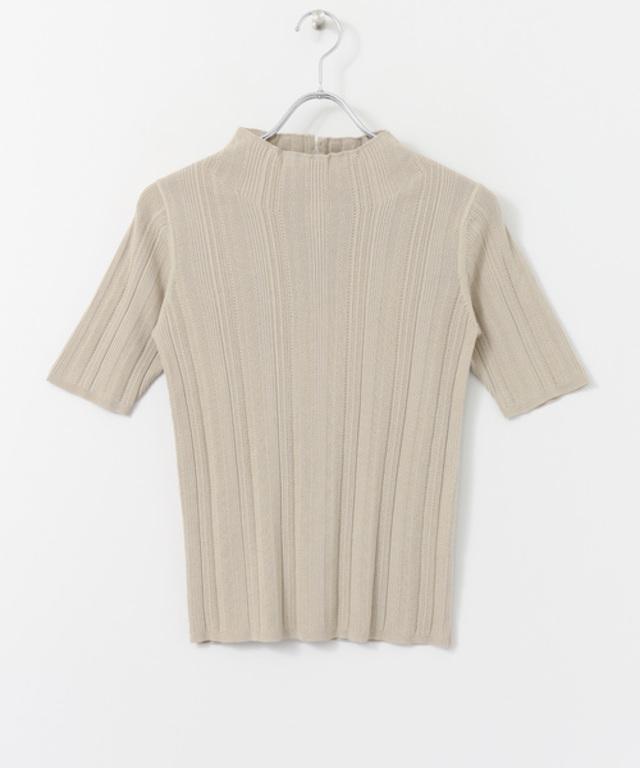 プチハイネック柄編み5分袖ニット