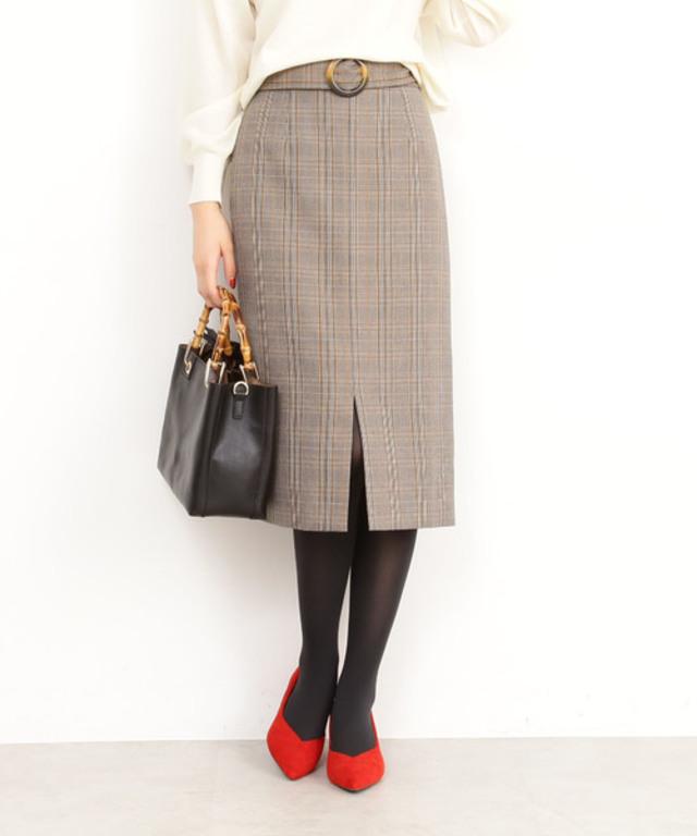 ベッコウバックルグレンチェックタイトスカート