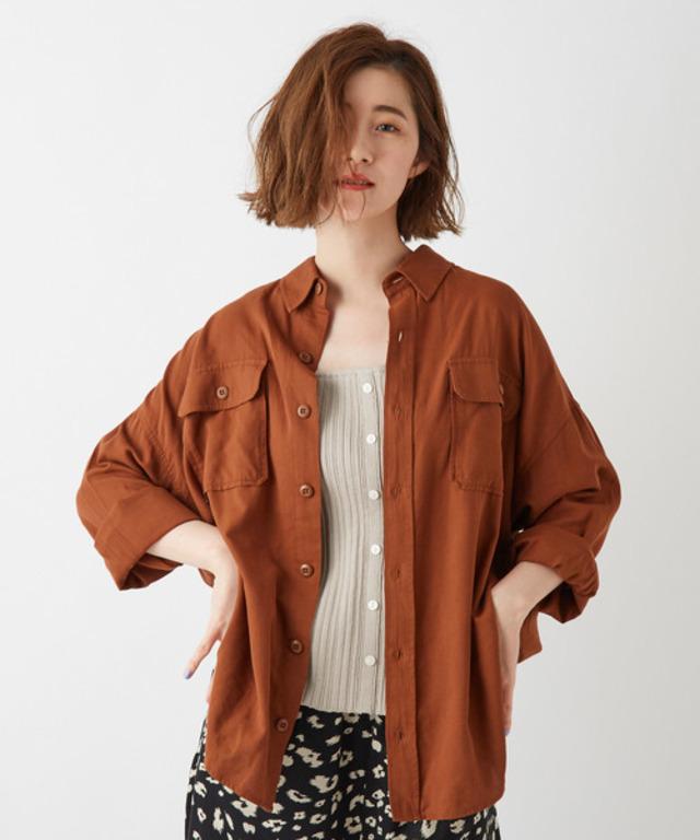 ポケット付ビッグシルエットミリタリーシャツ