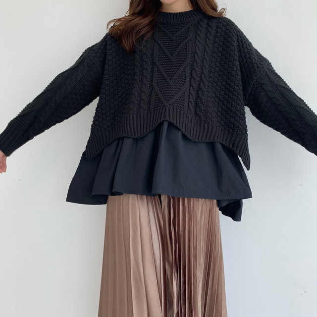 layered cable knit / black