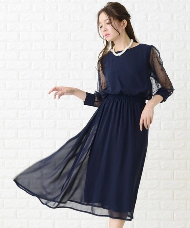 ドットチュール袖ワンピース・ドレス