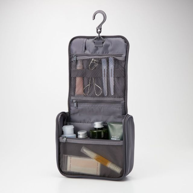 ポリエステル吊して使える洗面用具ケース (新)グレー・約16×19×6cm