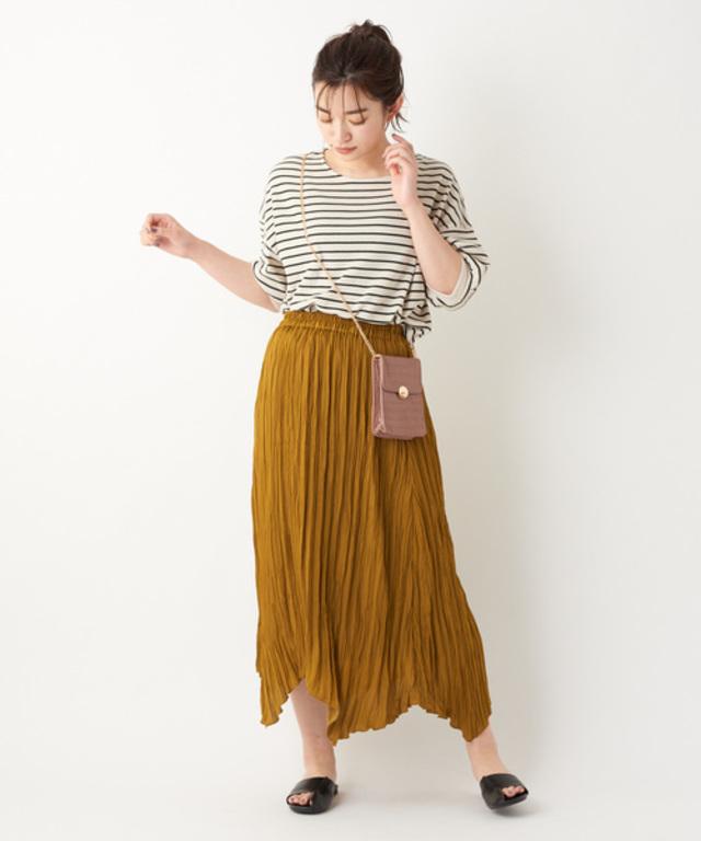 VTGサテン裾アシメプリーツスカート