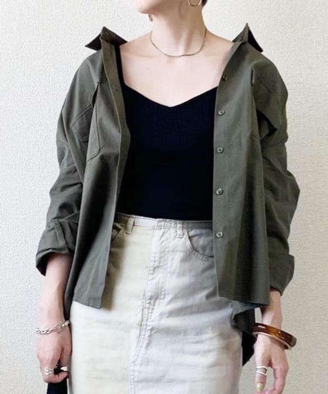 胸ポケットバックボリュームミリタリーシャツ