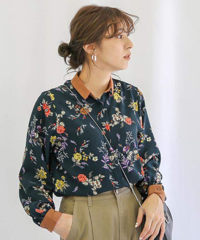 袖ポイントカラーヘリンボーン花柄ブラウスシャツ