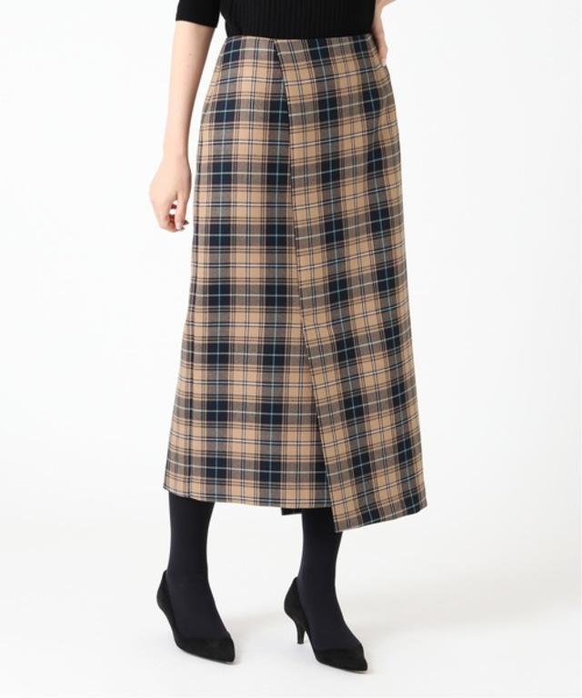 ウールチェックアシンメトリースカート