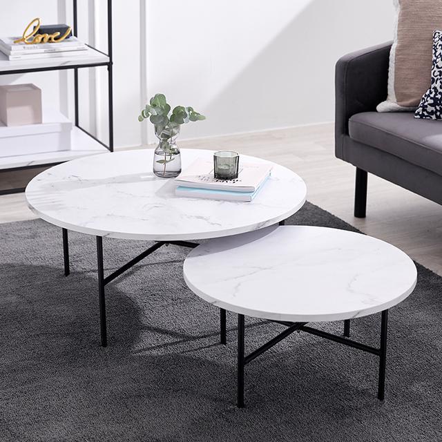 リビングテーブル センターテーブル ローテーブル 円形 スチール 大理石柄 [幅50~120]
