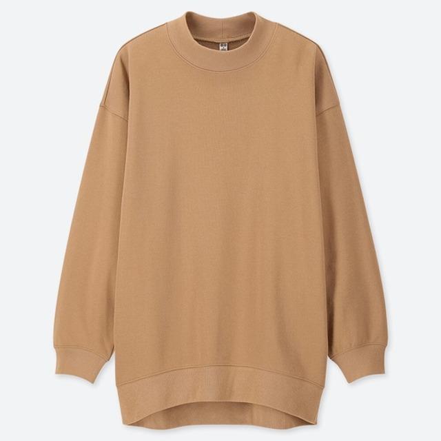 スウェットモックネックロングシャツ