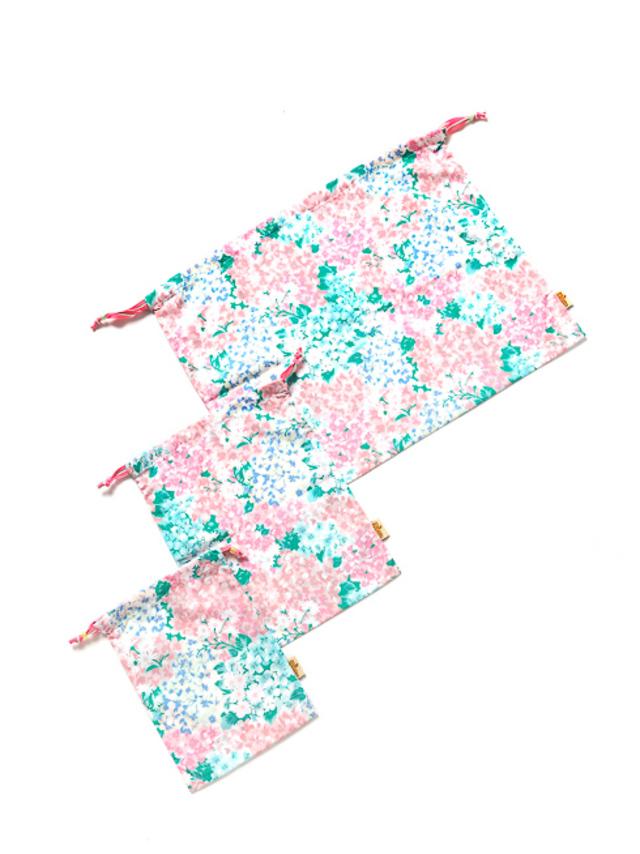CAMILLA3点巾着セット(グリーンマルチフラワー)