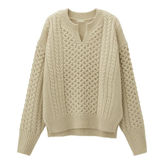 ケーブルキーネックセーター(長袖)(セットアップ可能)