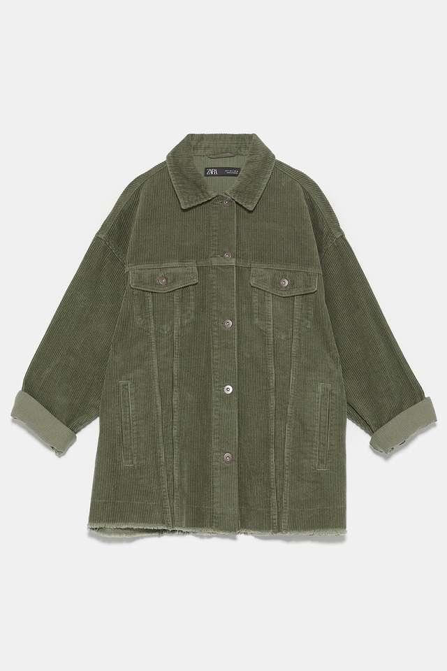 ポケット付きコーデュロイ地シャツジャケット