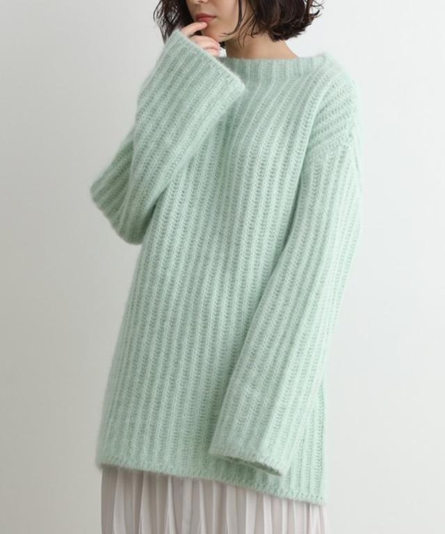 モヘヤ混畦編みプルオーバー
