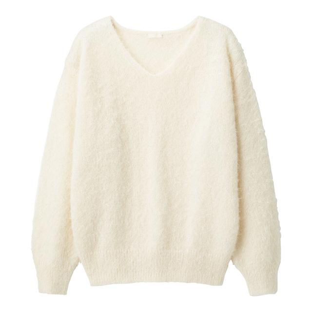 フェザーヤーンVネックセーター