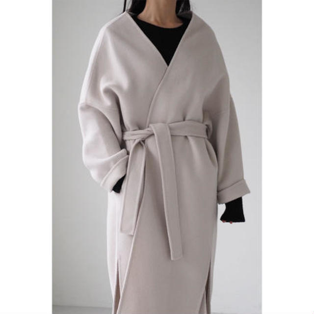 No-Collar Gown Coat_ivorygray