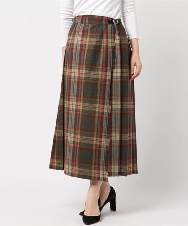 83cm ウールミックス ロングキルトスカート