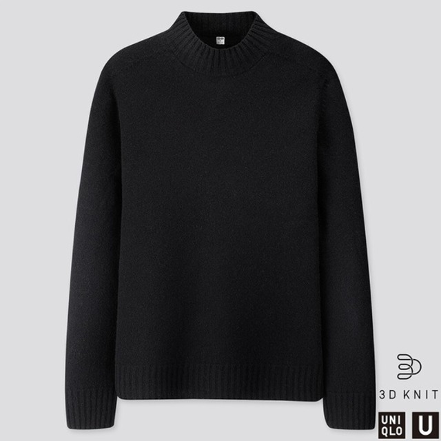 MEN 3Dプレミアムラムモックネックセーター