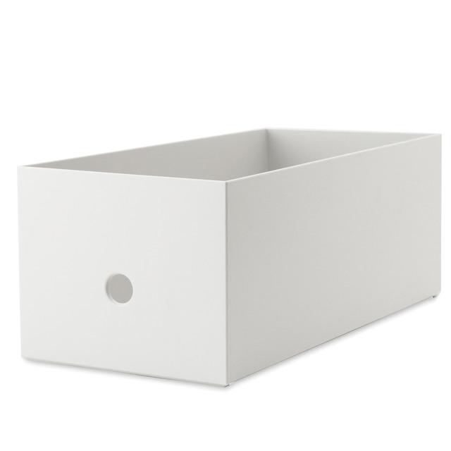 ポリプロピレンファイルボックス・スタンダードワイド・ホワイトグレー・1/2 約幅15×奥行32×高さ12cm