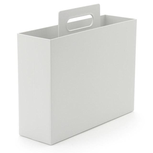 ポリプロピレン持ち手付きファイルボックス・スタンダードタイプ・ホワイトグレー 約幅10×奥行32×高さ28.5cm