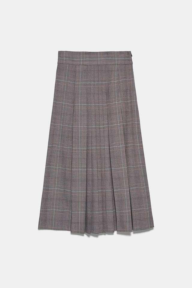 チェック柄ボックスプリーツスカート