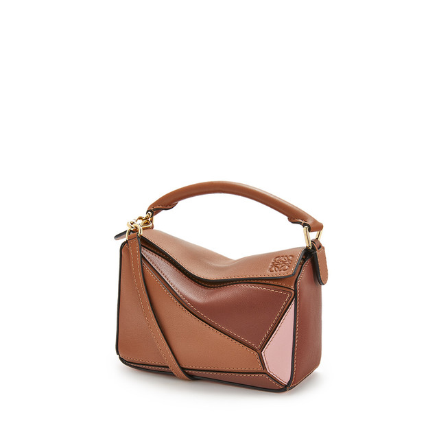 Puzzle Mini Bag Tan/Medium Pink