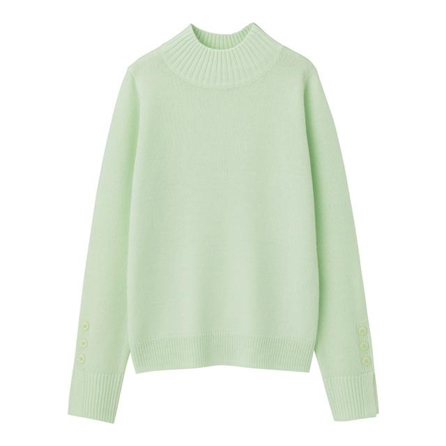 ボタンスリーブハイネックセーター(長袖)