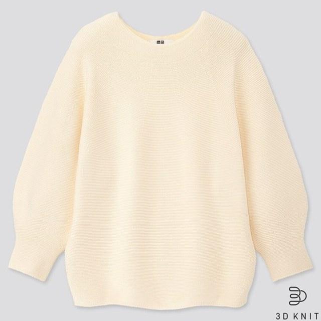 3Dコットンバルーンスリーブセーター(7分袖)