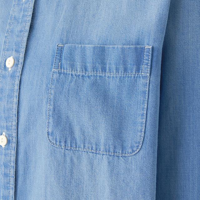 インド綿デニムスタンドカラーシャツ