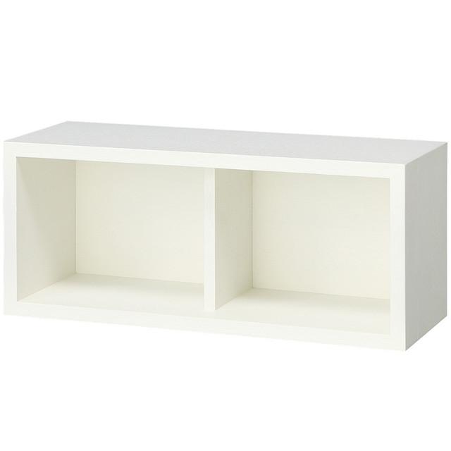 壁に付けられる家具・箱・幅44cm・タモ材/ライトグレー 幅44×奥行15.5×高さ19cm