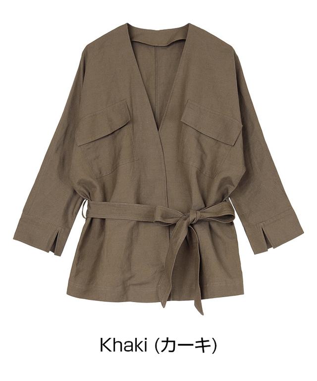 麻混サファリライトジャケット