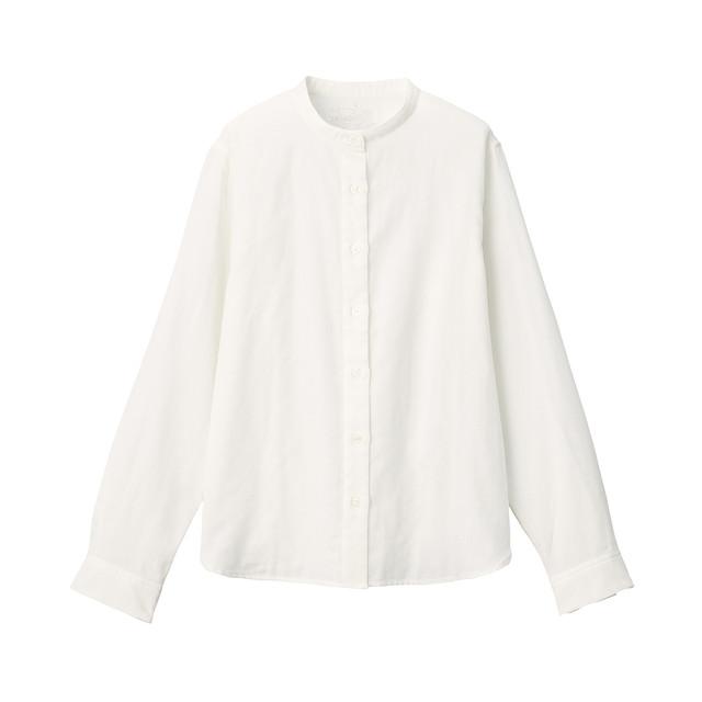 インド綿二重ガーゼスタンドカラーシャツ