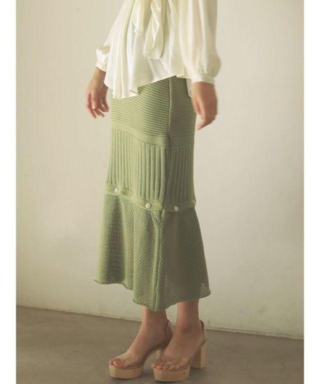 ミックスニッティングボタンスカート