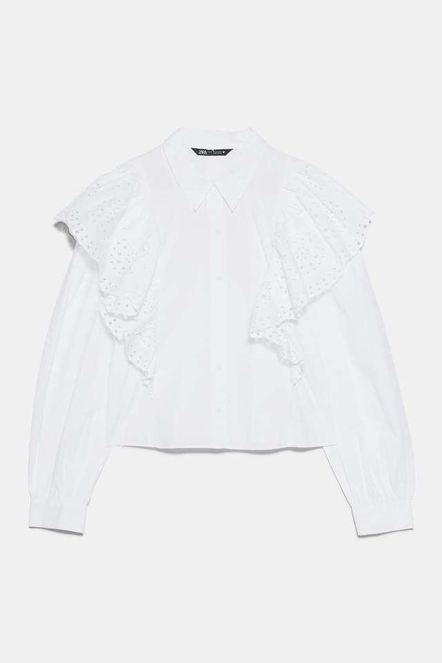 パーフォレーション刺繍入りポプリンシャツ