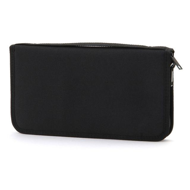 ポリエステルパスポートケース・クリアポケット付 黒・約23.5×13×2.5cm