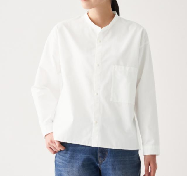新疆綿ピンオックススタンドカラーシャツ
