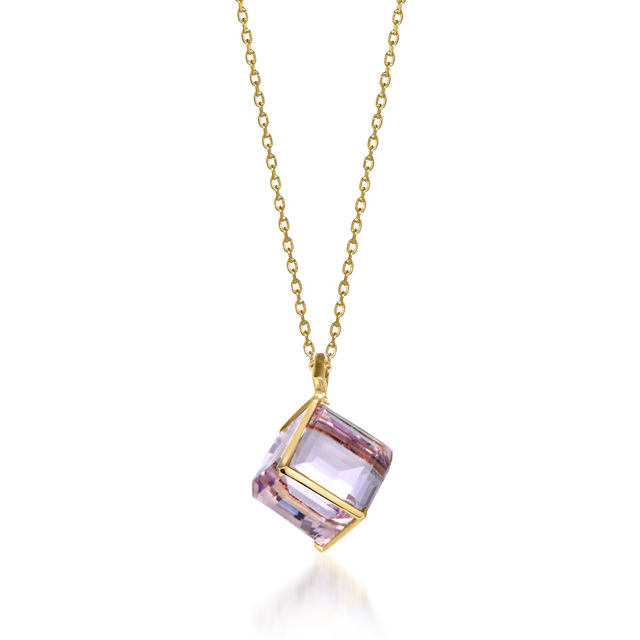 K10 ネックレス CUBE IN MAUVE