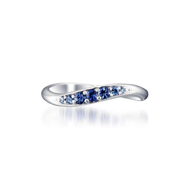 K10 ピンキーリング BLUE SAPPHIRE WAVE PINKIE RING